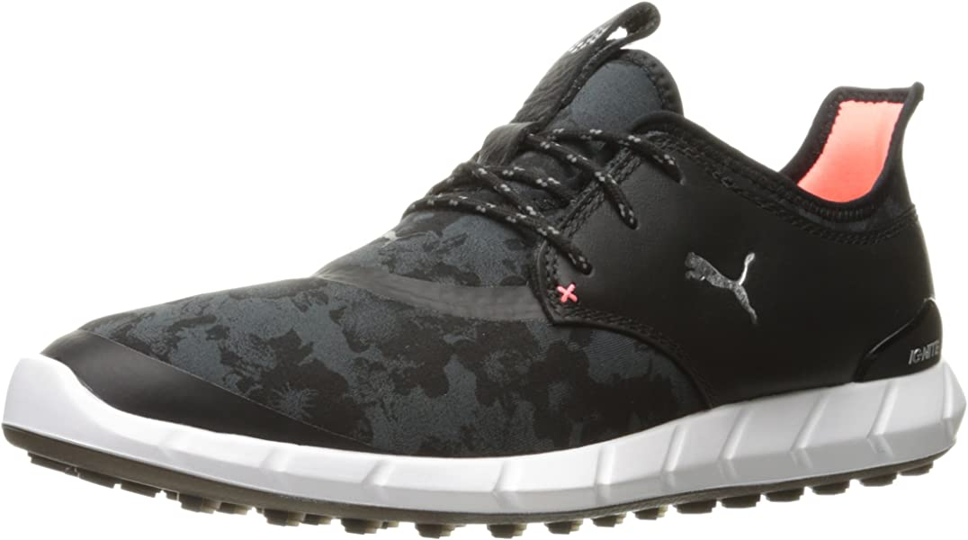 d4d55a4425f PUMA Golf Women s Ignite Spikeless Sport Floral Golf Shoe Black Silver Dark  Shadow 6