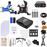 Shark Complete Pro Rotary Tattoo Kit Machines Gun with Plastic Carry Case Power Supply Needles Grips Tips