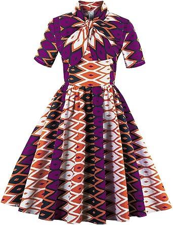 Foshow Womens African Print Vintage Dress Plus Size Holiday Dashiki Midi  Dresses