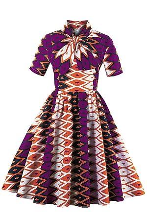 708d83bc4e8 Amazon.com  Foshow Womens African Print Vintage Dress Plus Size Holiday  Dashiki Midi Dresses  Clothing