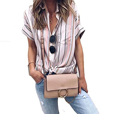 f45ce6a5a Women Short Sleeve Striped Button Down Shirts V Neck Blouses Ladies Tops at  Amazon Women's Clothing store: