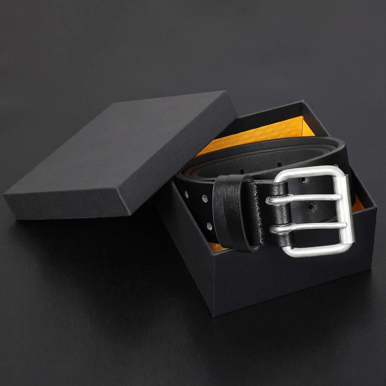 Double Prong Leather Belt Heavy Duty Belt for men, Double Grommet Holes Belt for Pants, Black, Suit for Pant Size Up to 34\
