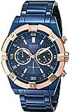 ゲス GUESS Men's U0377G4 Iconic Blue-Plated and Rose Gold-Tone Watch [並行輸入品]