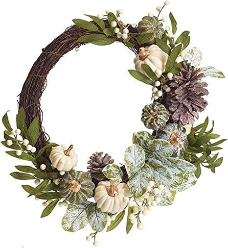 leaves on grapevine pinecones Rustic fall wreath with pumpkins