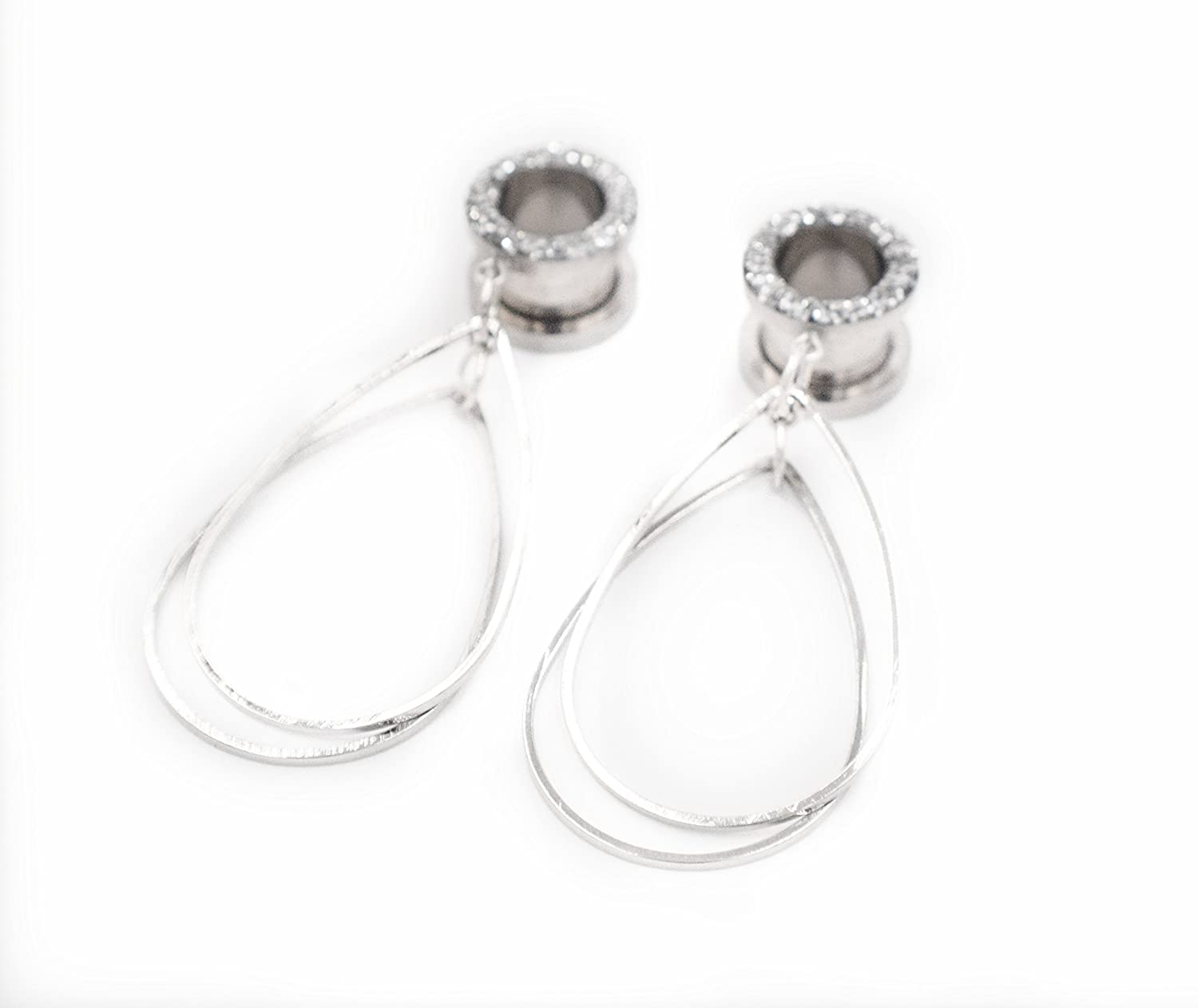 Handmade Silver Sparkle Tunnel Teardrop Dangle Plugs - 8g, 6g, 4g, 2g, 0g, 00g, 1/2, 9/16, 5/8, 11/16, 3/4, 7/8, 1 inch