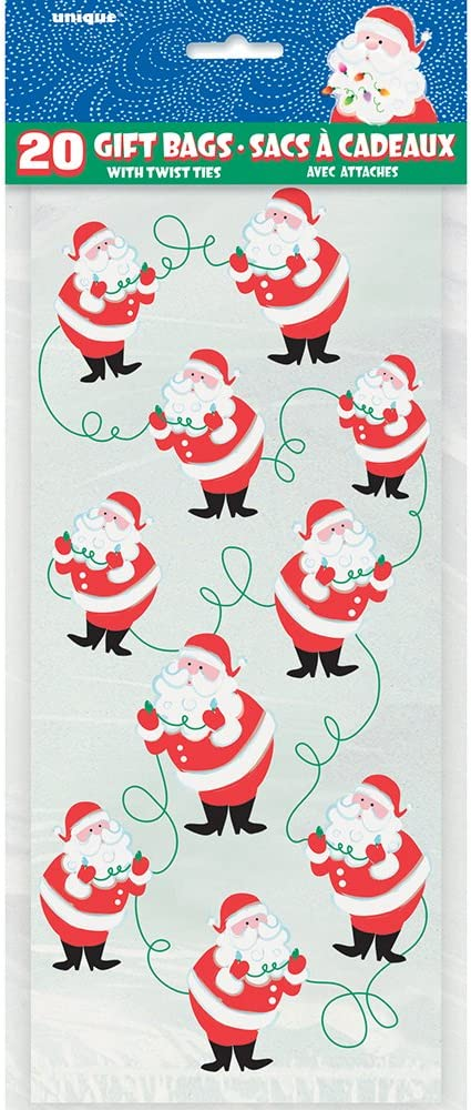 Unique Party 62037 Cellophane Candy Cane Christmas Party Bags Pack of 20