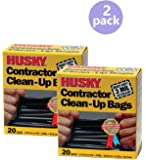 Husky HK42WC020B 42-Gallon Contractor Clean-Up Bags, 40 Count