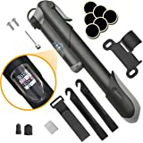 Bike Pump, [120 PSI][Perfect Full Set]Diyife Mini Bicycle Pump, Ball Pump with Needle, Glueless Patch Kit, Cycle Valve Caps and Frame Mount for Road, Mountain & BMX Fits Presta & Schrader Valve