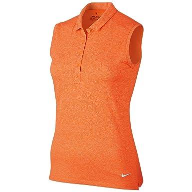 Nike W Nk Dry SL HTHR Polo de Golf, Mujer, Naranja (Bright ...