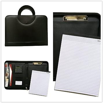 Carpeta portátil de MM, de piel sintética con cremallera con agenda portafolio laboral tamaño A4, cremallera y calculadora, color negro