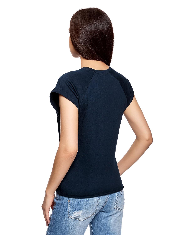 oodji Ultra Donna T-Shirt in Cotone con Scritta Senza Etichetta con Orlo Grezzo