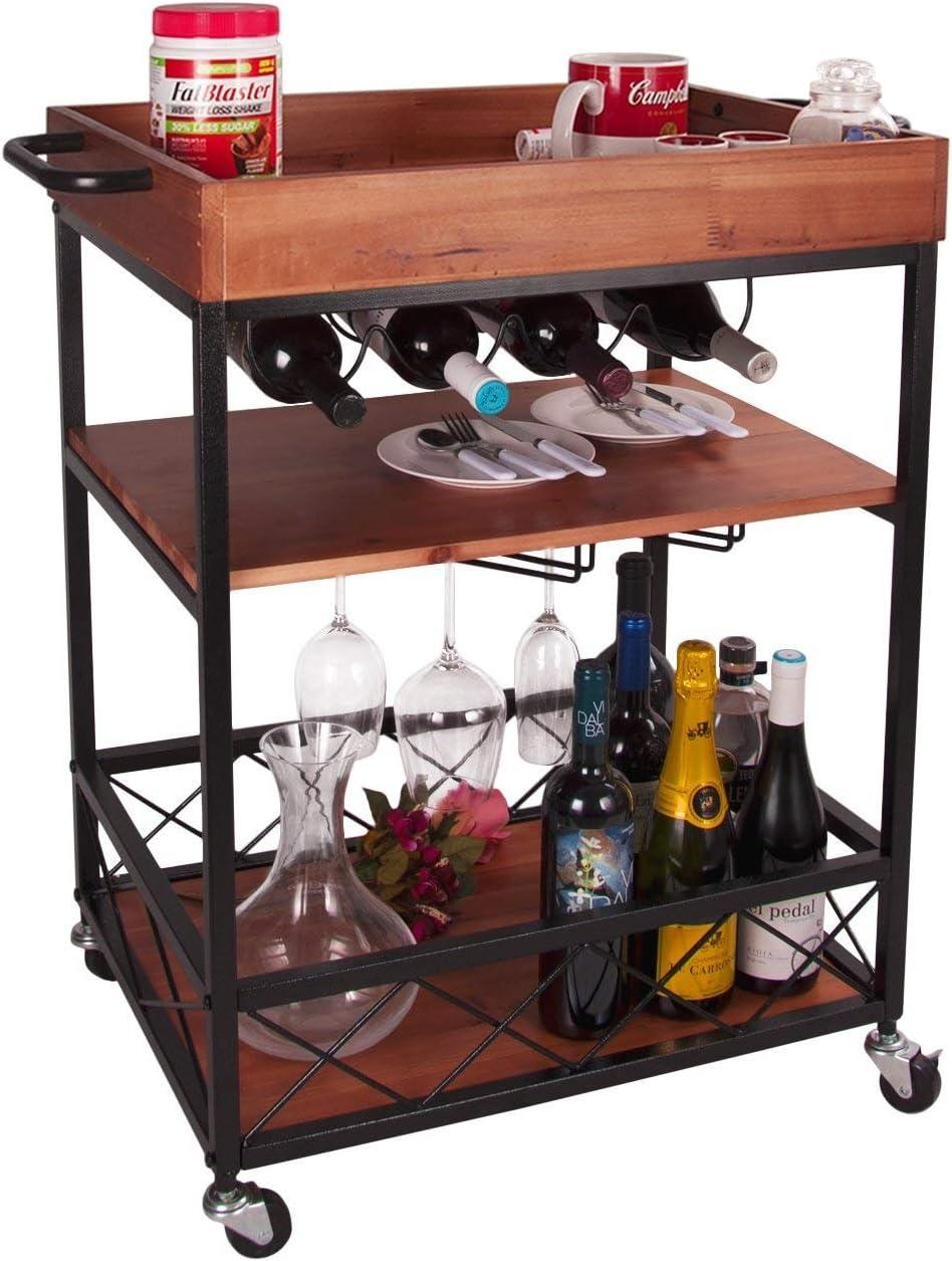 Elevens 3 Tier Rolling Utility Storage Cart-Kitchen Serving Bar Cart with Bottle Holder Dark Wood