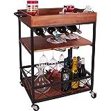 Elevens 3 Tier Rolling Utility Storage Cart-Kitchen Serving Bar Cart with Bottle Holder