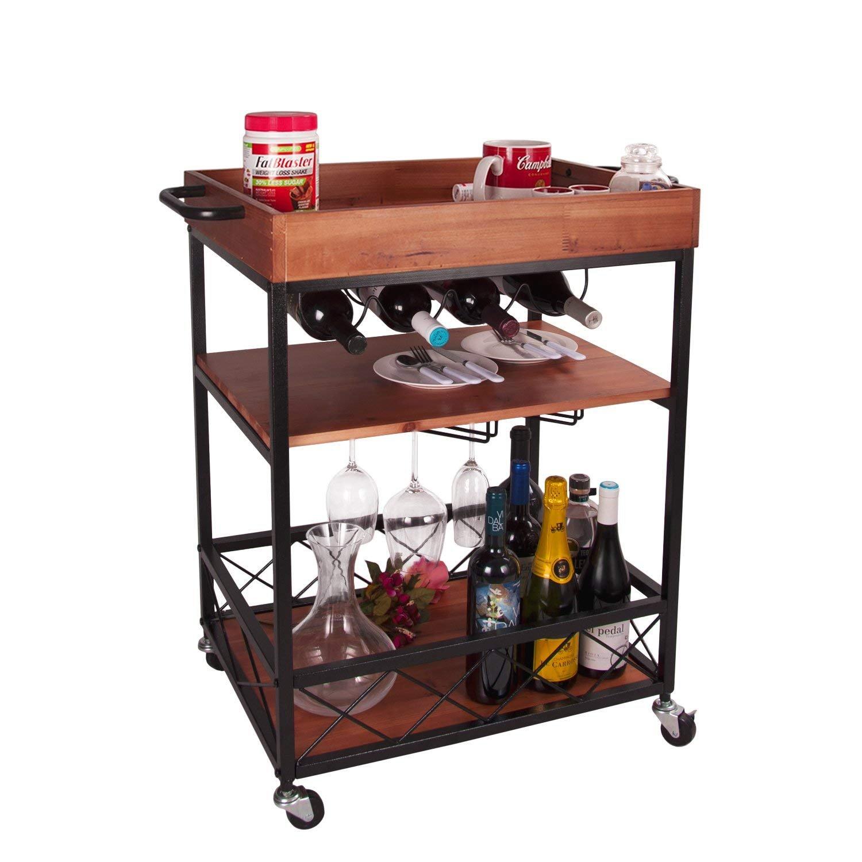 Elevens 3 Tier Rolling Utility Storage Cart-Kitchen Serving Bar Cart with Bottle Holder (Dark Wood) by Elevens