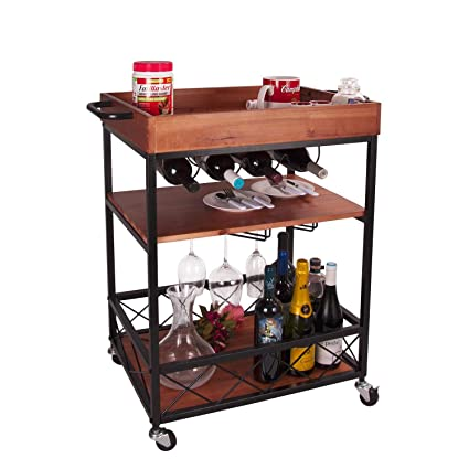 Ordinaire Amazon.com   Elevens 3 Tier Rolling Utility Storage Cart Kitchen Serving Bar  Cart With Bottle Holder   Bar U0026 Serving Carts
