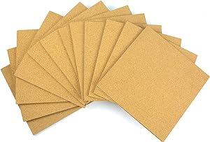 MYOYAY 12 Pack Cork Tile Board, 12 x 12 Inch Square Bulletin Board Self-Adhesive Cork Board Tiles for Home Office Decor