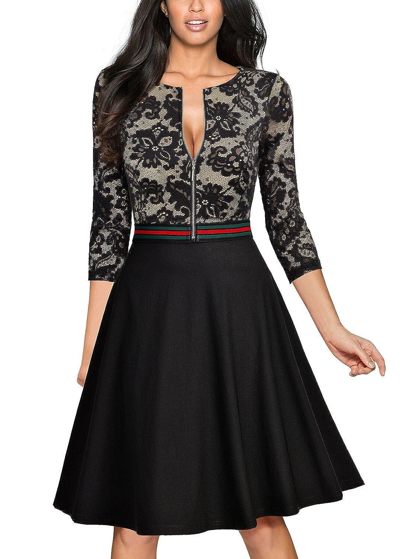 Miusol Damen Elegant Spitzen Abendkleid Reissverschluss Vorne ...