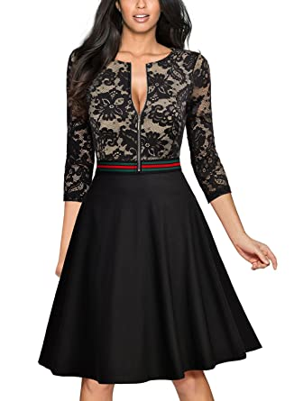 Miusol Damen Elegant Spitzen Blumengedruckt Abendkleid Reissverschluss  vorne Knielang Cocktailkleid Schwarz Gr.S-XXL  Amazon.de  Bekleidung 9dcf3f0f4b