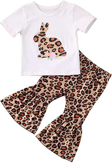 2PCs Toddler Baby Girl Off-shoulder Tops+Bell-Bottoms Flared Pants Clothes Suits