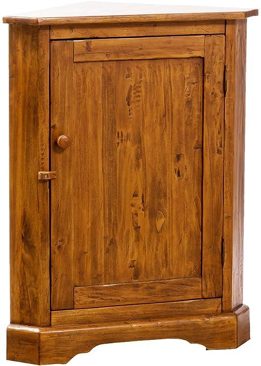 Angoliera Country in legno massello di tiglio finitura noce 50x50x92 ...