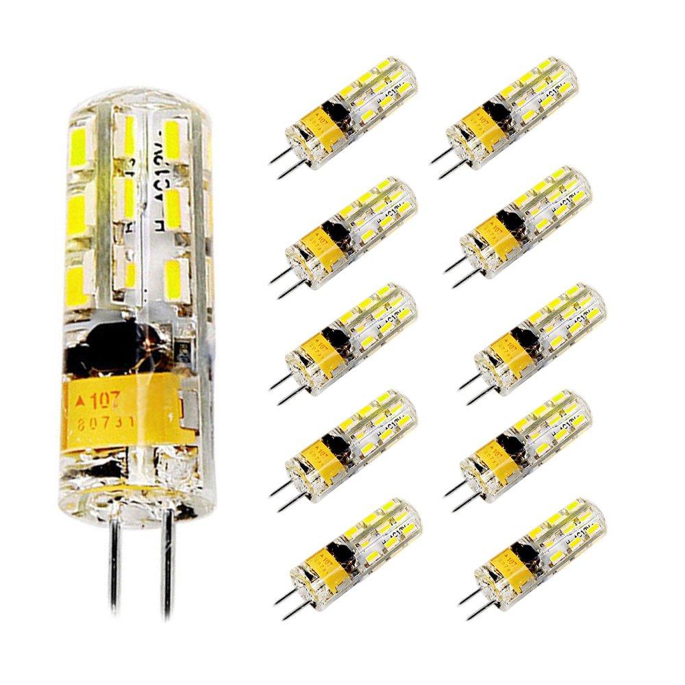 MODOAO 10 Pack G4 2W 3W 24 48 LED Corn Bulb 3014 SMD Corn Light Lamp Cool White Warm White AC DC 12V 2W cool white