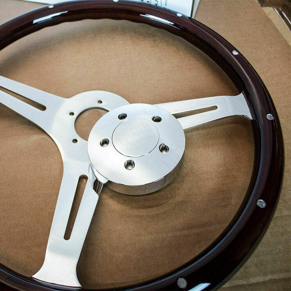 Kenworth 18 Dark Wood Steering Wheel Chrome 5-Bolt Freightliner Peterbilt