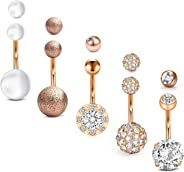 Briana Williams Belly Button Rings Surgical Stainless Steel 14G Belly Ring Sparkly CZ Navel Piercings Jewelry for Women Girls