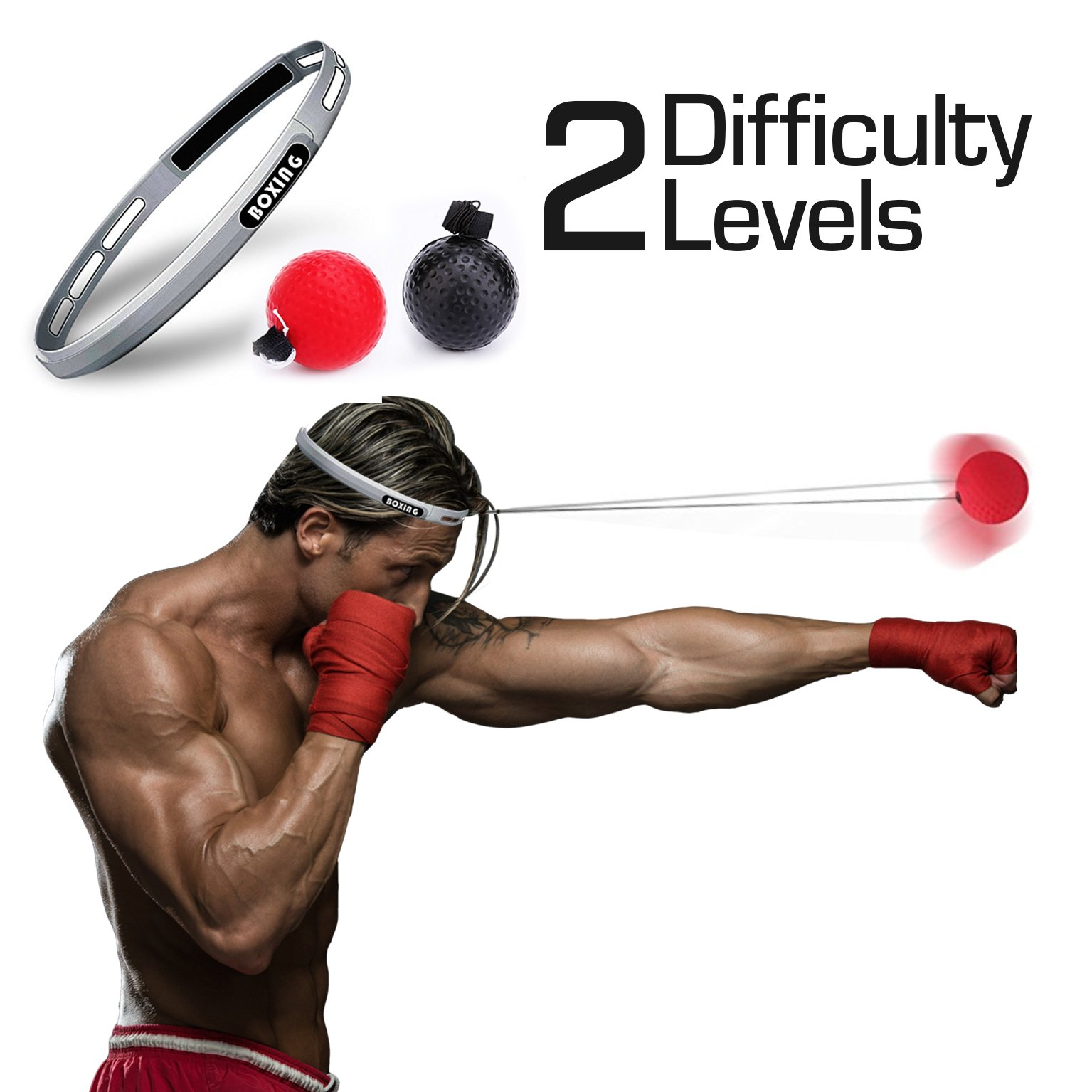 Origin Labs Boxing Reflex Ball - Headband and Boxing Punch Ball with 2 Difficulty Levels for Training Speed, Reaction Time, and Hand Coordination