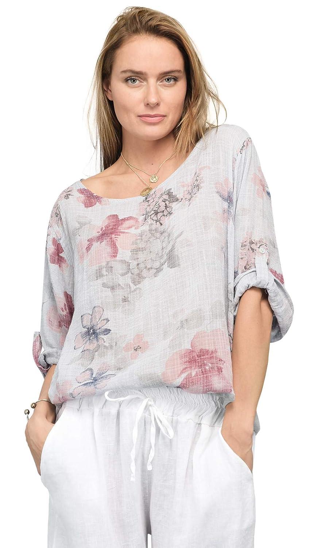 3654 Printed Linen Blouse Summer Collection Women
