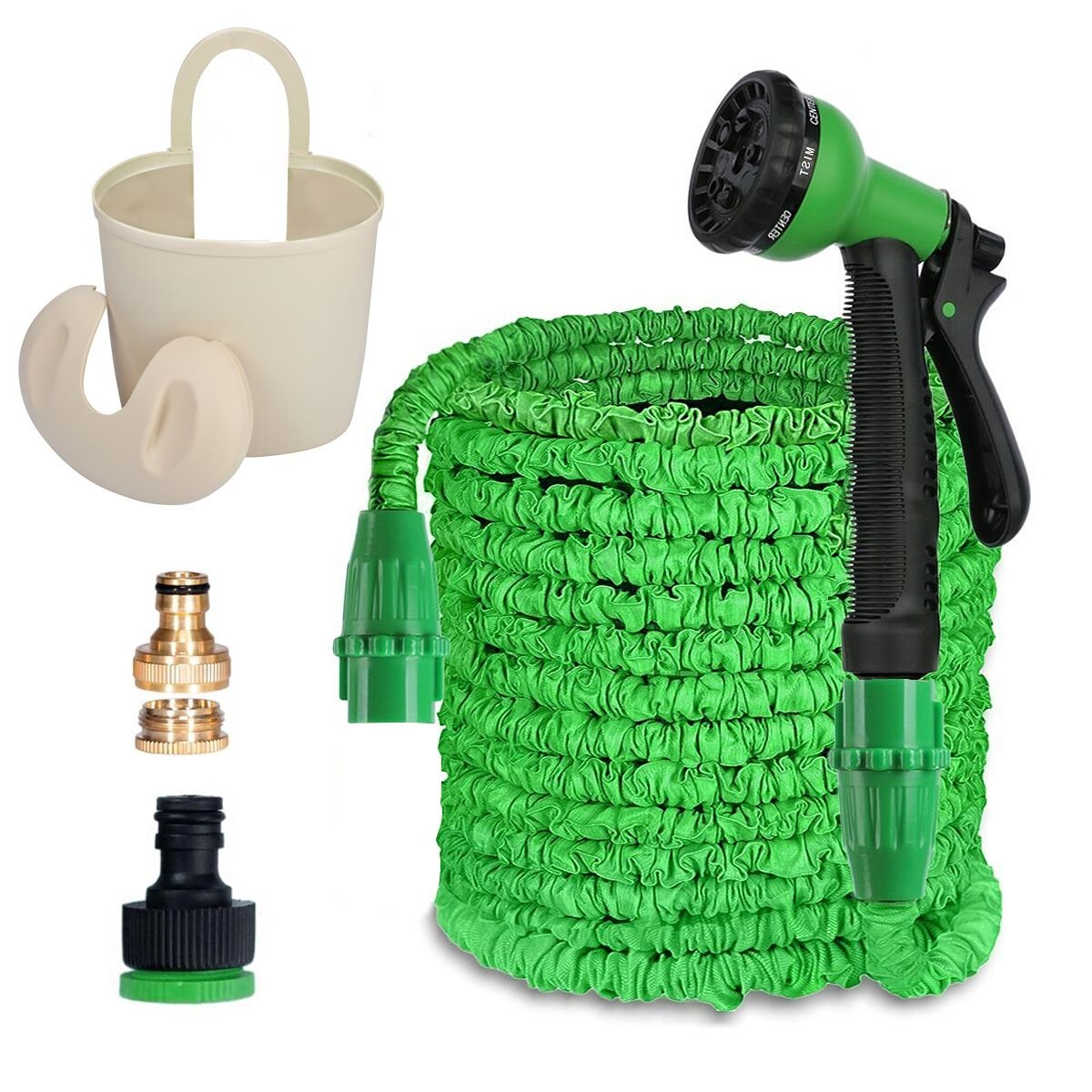 MEIDOO 100FT Expandable Garden Hose Pipe with Solid Brass Hose Fitting & Plastic Bucket, 8 Function Spray Gun for Watering Plants, Cleaning Windows and Washing Cars SHUIGUAN9