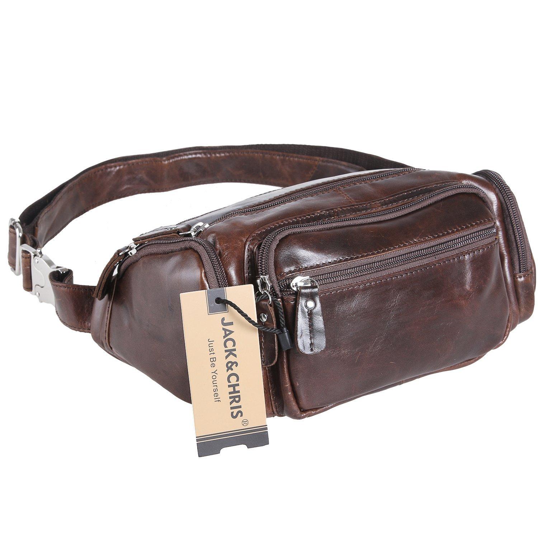 Jack&Chris Men's Leather Fanny Pack Bum Bag Waist Sling Bag, NM1885