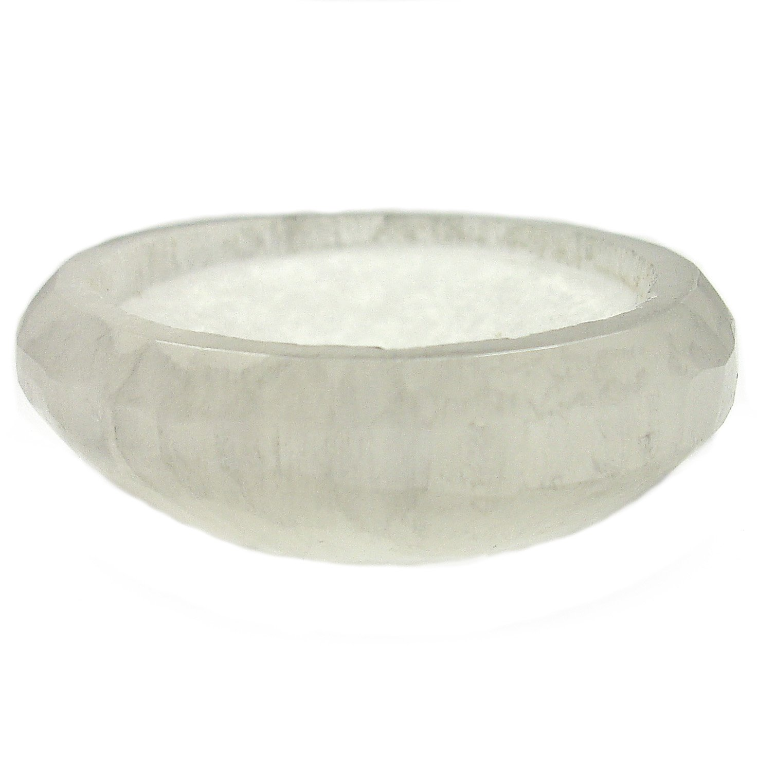 The Magic is in You 2 Satin Spar Selenite Crystal Charging Bowl with Description Card