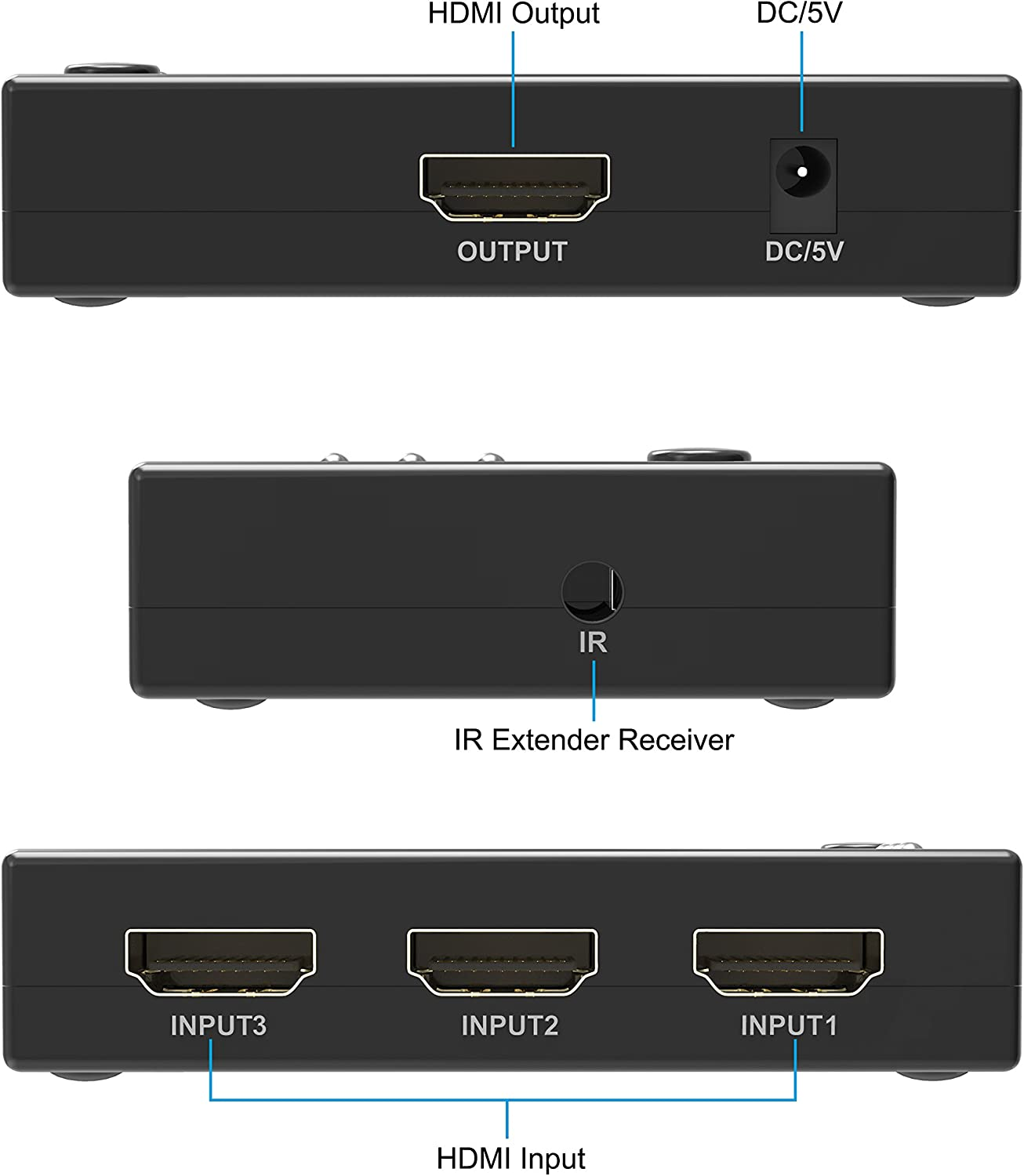 Portta HDMI Switch//Switcher Bi-Direction Manual 2 Port 2x1 1x2 HDMI Hub v1.4 Support 4k x 2k 1080p Ultra HD 3D HDCP Passthrough