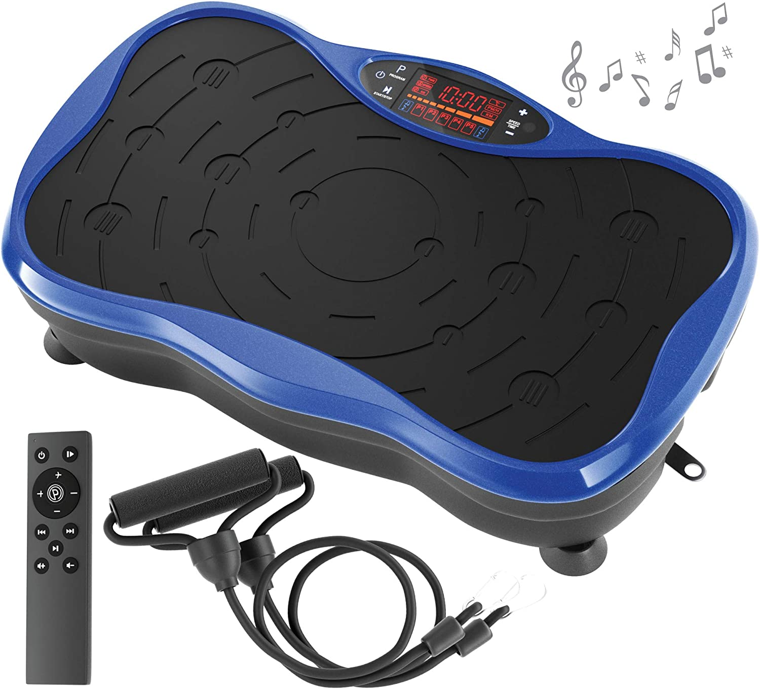 Belmint Vibration Plate Exercise Machine - Mini Fitness Board with 2 Resistance Bands - Home Training Equipment Platform for Full Body Workout - Toning, Lose Fat, Weight Loss, Core, Legs, Back, Squat