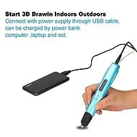 Stylo 3D Impression Stéréoscopic Printing 3D Dessin Doodle Pen with EU Adapter + Free PLA Supplies(2M*3Couleurs) pour Enfants ou Adultes Compatible avec 1,75 mm ABS et PLA - Bleu