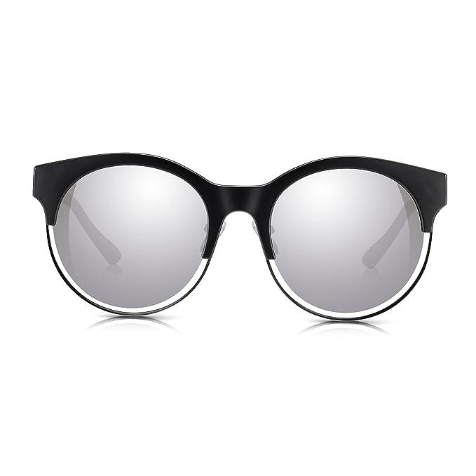 Sunglass Junkie Gafas de sol redondas negras y plateadas de ...