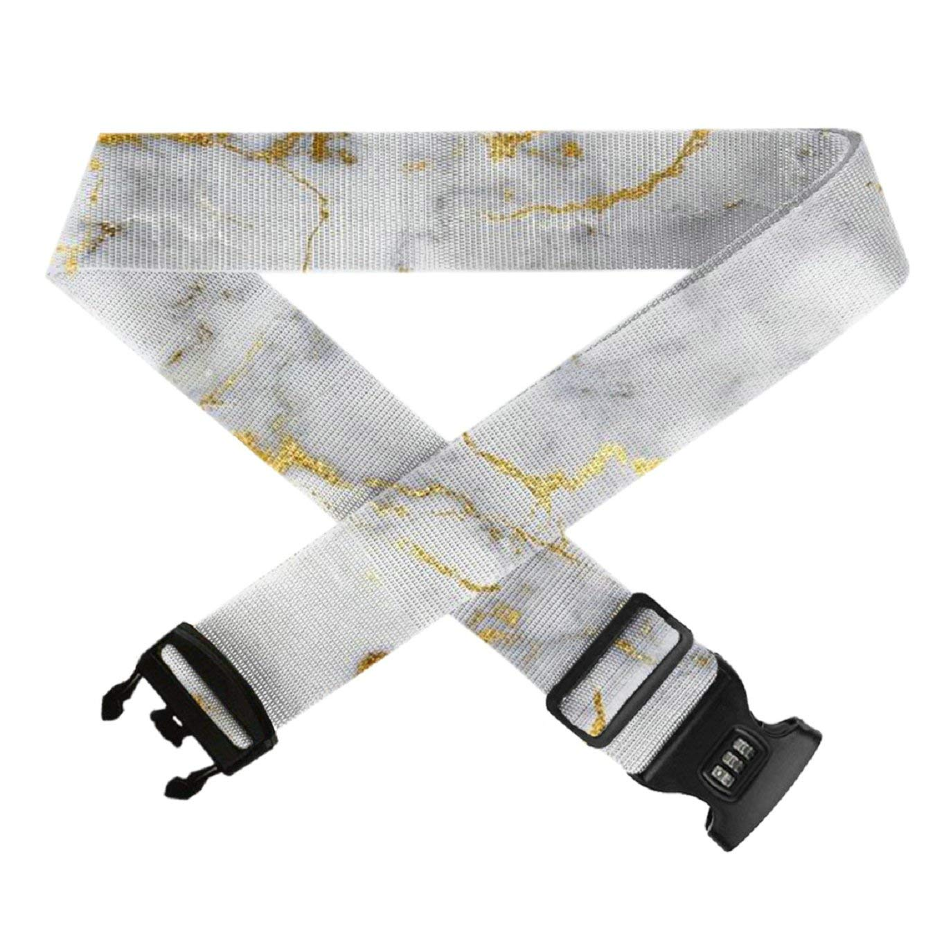 Gold Marble GLORY ART Suitcase Straps TSA Approved Lock Travel Bag Accessories,1-Pack Adjustable Luggage Belt for 20-32 Suitcase