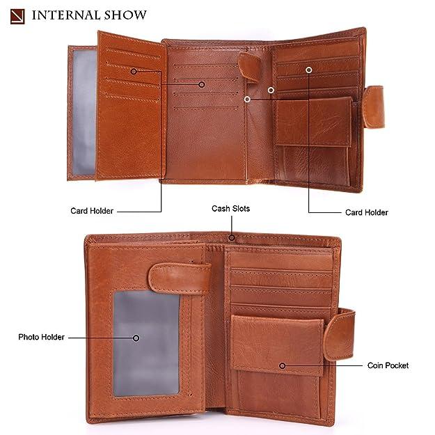 Shuo lan Billetera, Monedero de los hombres Cartera de cuero de la vendimia corta Billetera de la primera capa Bolsa vertical de cuero (Color : Brown): ...