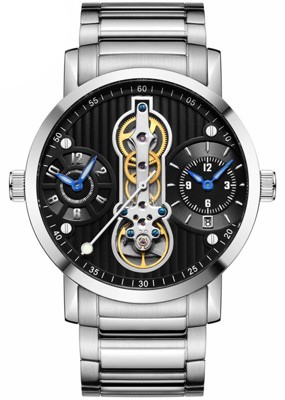 メンズユニークなデザイン自動機械腕時計防水ステンレススチールスケルトン腕時計 シルバーブラック B07BMG3FDK シルバーブラック シルバーブラック