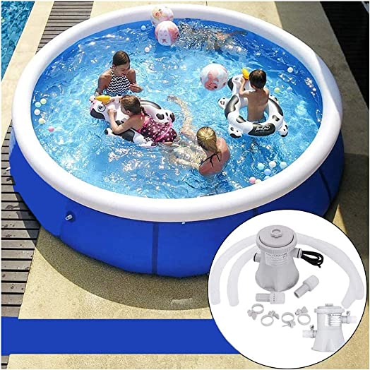 US In Stock Ship Fast Family Inflatable Swimming Pools Order one Send Two For Free Filter Pump Swimming Pool Ladder Round Inflatable Top Ring Swimming Pools 15 Ft Water Play 15FT x 36 Inch Deep