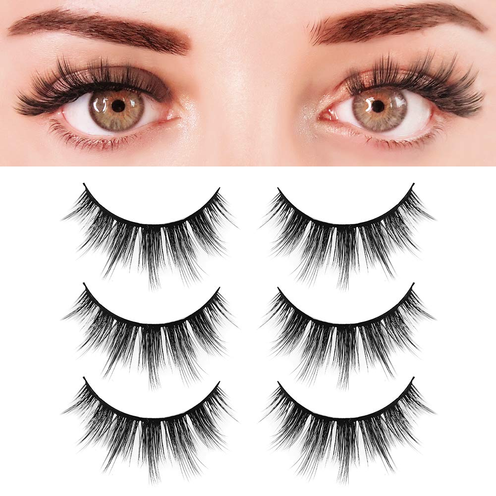 f94a1798655 Amazon.com: BEPHOLAN 3 Pairs False Eyelashes Synthetic Fiber Material| 3D  Faux Mink Lashes| Natural Round Look| Soft & Lightweight| Reusable| 100%  Handmade ...