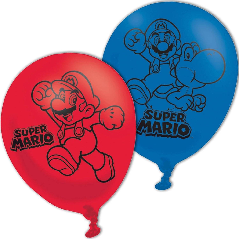 Amscan 9900743 11-Inch Super Mario Bros 4 Sided Latex Balloons ...