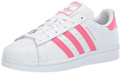adidas Originals Unisex Superstar Running Shoe WhiteReal PinkReal Pink, 7 Medium US Little Kid