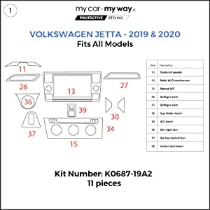 MY CAR MY WAY (Fits) Volswagen Jetta 2019-2020 Dash Kit: Manual A/C - 11 Pieces