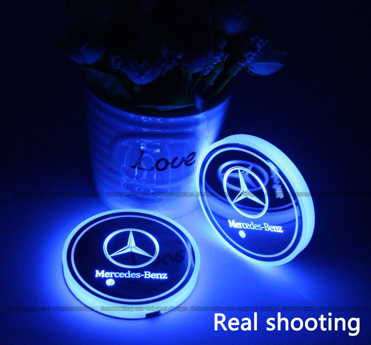 2pcs LED Car Cup Holder Lights for Lexus LED Interior Atmosphere Lamp 7 Colors Changing USB Charging Mat Luminescent Cup Pad
