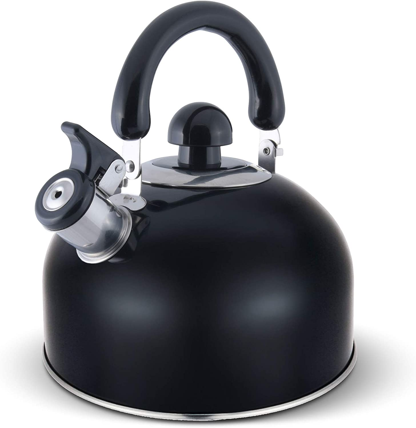 ELITRA Whistling Tea Kettle - Stainless Steel Tea Pot with Stay Cool Handle - 2.6 Quart / 2.5 Liter - (BLACK)