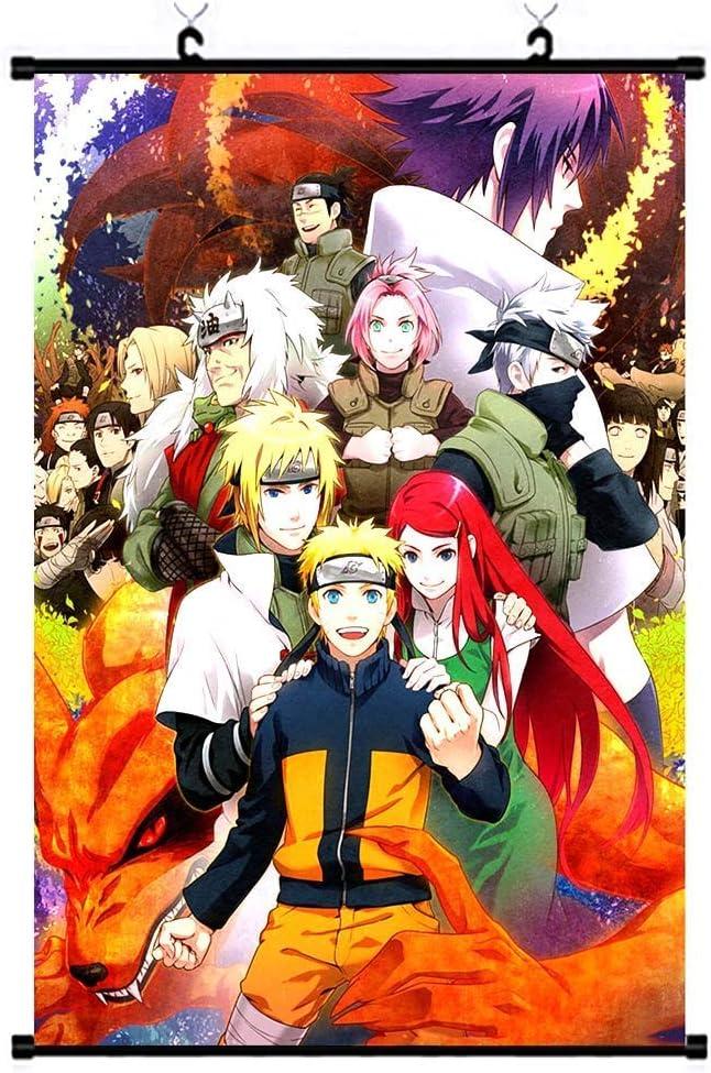 Zhenzhiao 2020 Naruto P/óster de tela de pergamino para colgar en la pared dise/ño de personajes de Naruto Anime Uchiha Itachi Sasuke