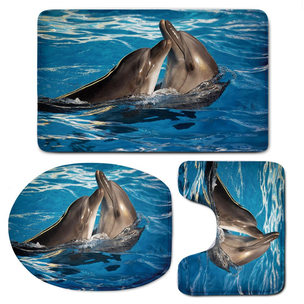 3 Piece Bath Mat Rug Set,Dolphin,Bathroom Non-Slip Floor Mat,Aqua-Show-Pair-of-Dolphins-Dancing-in-the-Pool-Animal-Family-Tenderness-Love,Pedestal Rug + Lid Toilet Cover + Bath Mat,Blue-Dark-Taupe
