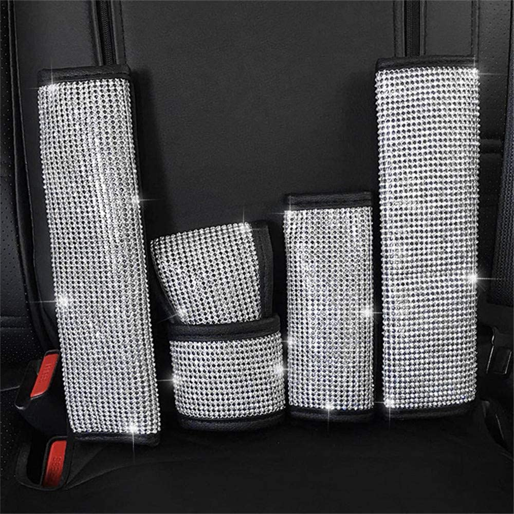 MIGHTYDUTY 1pcs Handbrake Cover with Crystal Diamond Bling Rhinestone Leather Shiny Design Handcraft Car Accessories for Most Models