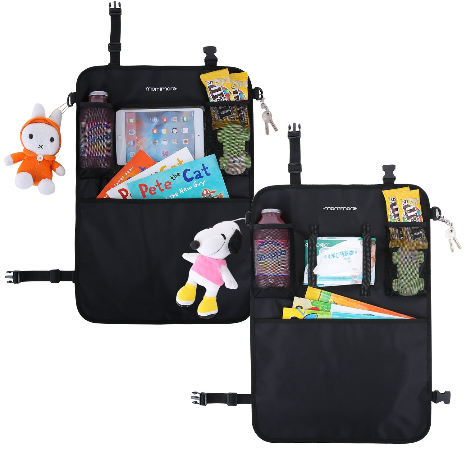 MOMMORE 2 Pack Car Back Seat Organizer Toy Storage for Kids Kick Mat Car Seat Protector